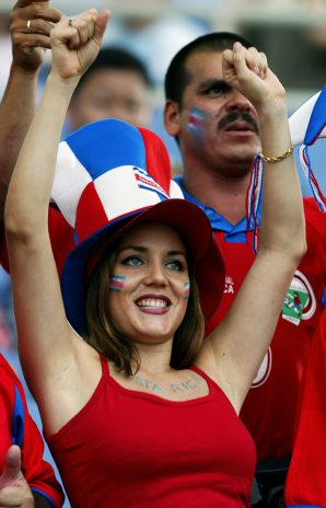 Costa Rican fans cheer from the stands, 09 June 20