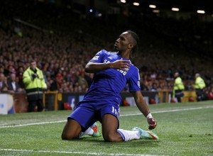 Chelsea's Didier Drogba celebrates after scoring during their English Premier League soccer match against Manchester United at Old Trafford in Manchester