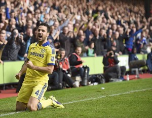 Chelsea's Cesc Fabregas celebrates after scoring against Crystal Palace during their English Premier League soccer match at Selhurst Park in London