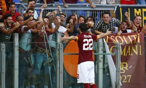 AS Roma's Destro celebrates after scoring against Chievo Verona during their Italian Serie A soccer match at the Olympic stadium in Rome
