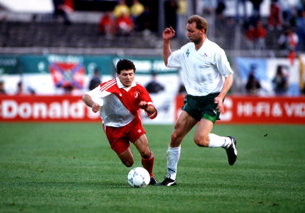 Football. UEFA Cup Winners Cup Final. Lisbon, Portugal. 6th May 1992. Monaco 0 v Werder Bremen 2. Bremen?s Dieter Eilts moves away from Monaco?s Rui Barros.