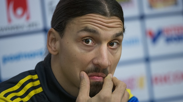 Sweden's national soccer team captain Zlatan Ibrahimovic reacts during a news conference in Stockholm