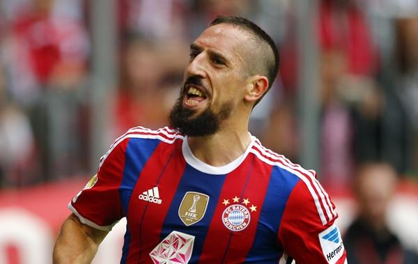 Munich's Ribery celebrates after he scored against Stuttgart during their German first division Bundesliga soccer match in Munich