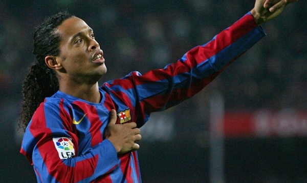 Barcelona's Ronaldinho celebrates goal against Sevilla during Spanish first division match in Barcelona