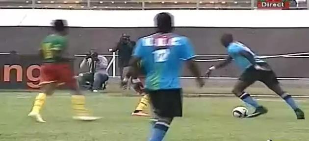 კონგოს ნაკრების ფეხბურთელის ფინტი კამერუნელების წინააღმდეგ (ვიდეო)