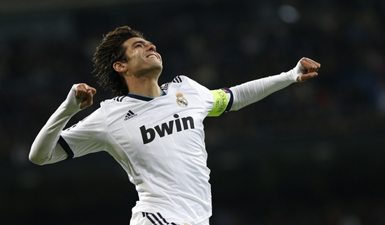 Real Madrid's Kaka celebrates his goal during their Champions League Group D soccer match against Ajax Amsterdam at Santiago Bernabeu stadium in Madrid