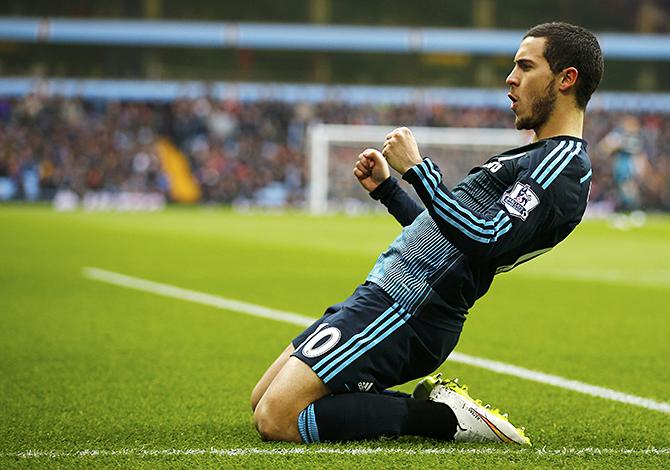 Eden Hazard of Chelsea celebrates scoring against Aston Villa during their English Premier League soccer match at Villa Park, Birmingham