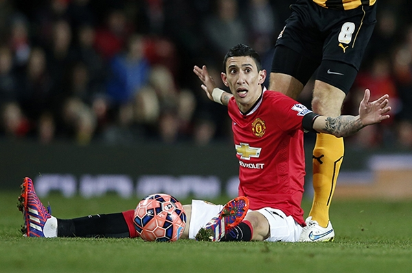Manchester United's Di Maria reacts during their FA Cup fourth round soccer match against Cambridge United at Old Trafford in Manchester