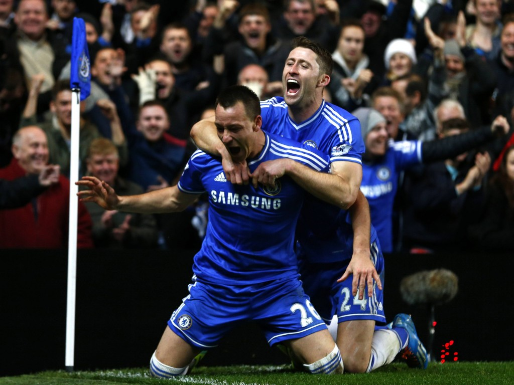 Chelsea's Terry celebrates with Cahill after scoring a goal against Southampton during their English Premier League soccer match at Stamford Bridge in London