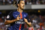 Jul 29, 2015; Chicago, IL, USA; Paris Saint-Germain forward Zlatan Ibrahimovic (10) reacts after scoring a goal against the Manchester United during the first half at Soldier Field. Mandatory Credit: Mike DiNovo-USA TODAY Sports