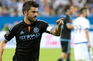 New York City FC's David Villa points  after scoring against the Montreal Impact during the second half of an MLS soccer match in Montreal, Saturday, July 4, 2015. (Graham Hughes/The Canadian Press)