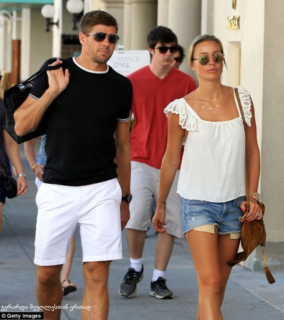 Gerrard with wife
