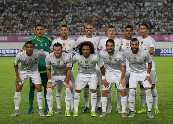 GUANGZHOU, CHINA - JULY 27: Players of Real Madrid pose for group photo during the match of International Champions Cup China 2015 between Real Madrid and FC Internazionale at Tianhe Stadium on July 27, 2015 in Guangzhou, China. (Photo by Zhong Zhi/Getty Images)