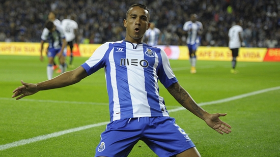 Porto's Brazilian defender Danilo celebrates after scoring during the Portuguese league football match FC Porto vs Nacional at the Dragao Stadium in Porto, on November 1, 2014.  AFP PHOTO / MIGUEL RIOPA        (Photo credit should read MIGUEL RIOPA/AFP/Getty Images)