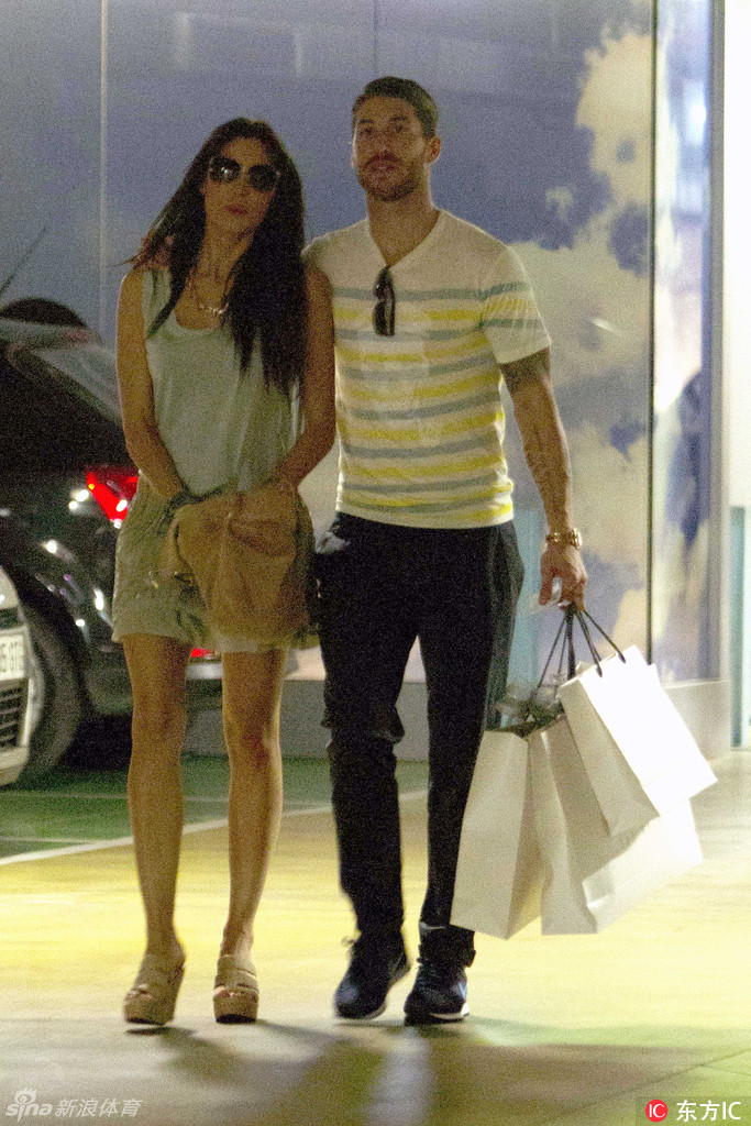 Real Madrid football player Sergio Ramos and his girlfriend Pilar rubio go shopping in Madrid 2th July Madrid, Spain NON EXCLUSIVE