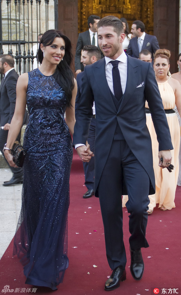 """The bulfighter Alejandro Talavante(25yo) and the Mexican model Jessica Meza(31) married July 05, 2013 in Olivenza. Five year together and two children:Alejandro (4yo) and Alvaro(2m). Both was at the wedding. The couple were introduced in Mexico on 2004. She turn to Spain to live with the Matador. The ceremony was at the Santa maria del Castillo church. nearly 300 guests and famous people were in the wedding. Talavante was dressed by Ermenegildo Zegna. Jessica was dressed by Pronovias.  The cocktal and lunch was at """"Los arrecifes de arriba """" an 170 h Talavante´s ranch. The spanish flamenco singers and dancers Rafael Amargo y Nina Pastori made a show. Real Madrid´s Defender and second captain Sergio ramos and his girlfriend The Tv Conducter Pilar Rubio Photo by Esteban Perez Abion/Sevilla press/ DyD Fotografos"""
