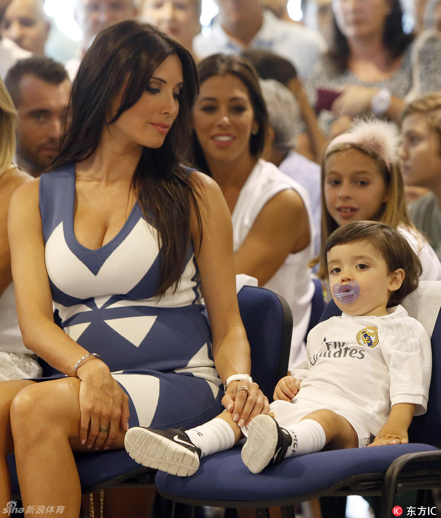 Pilar Rubio with son Sergio Ramos at a event for the occasion of its renewal of Sergio Ramos for five more years at Real Madrid, in Madrid, on Monday 17th August, 2015.