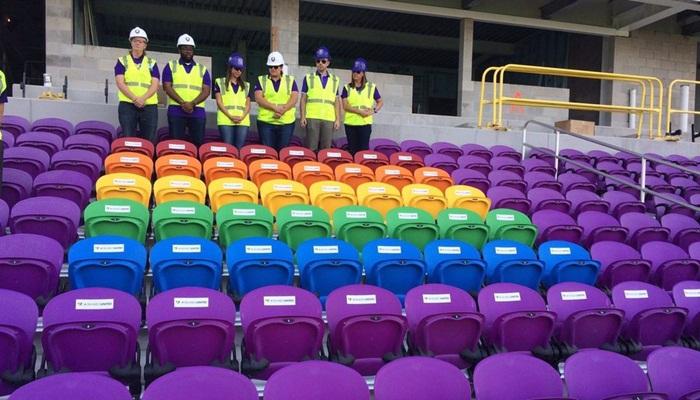 49 rainbow-coloured seats