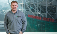 Former Manchester United midfielder  Scholes pictured for Enterprise Rent-A-Car, official partner of the UEFA Europa League, ahead of Manchester United vs St. Etienne